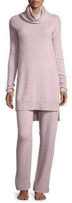 Neiman Marcus Cashmere Cowl-Neck Sweater & Pant Lounge Set, Quartz