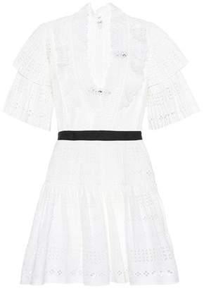 Self-Portrait Stripe broderie anglaise cotton minidress
