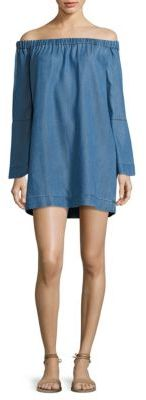 7 For All Mankind Chambray Dress Bell Sleeve $199 thestylecure.com