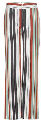 Chloé Striped cotton-blend twill wide-leg trousers