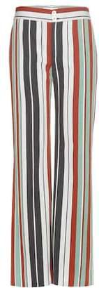 Chloé Striped cotton-blend twill wide-leg trousers