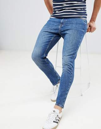 Esprit Slim Fit Tapered Jeans In Mid Wash Blue