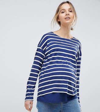 Asos Nursing DESIGN Maternity Nursing Long Sleeve Top With Double Layer In Navy Stripe