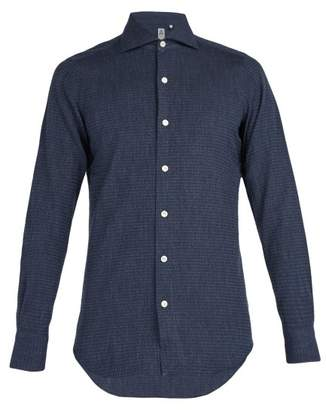 Finamore 1925 - Spread Collar Cotton Jacquard Shirt - Mens - Navy