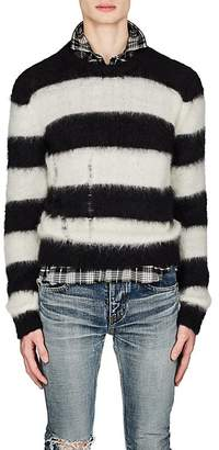 Saint Laurent Men's Blocked-Striped Mohair-Blend Oversized Sweater