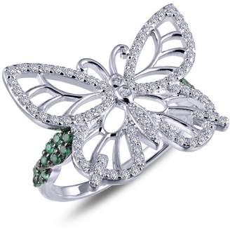 Lafonn Rhonda Faber Green Sterling Silver Platinum Plated Lassire Simulated Diamond Ring (0.86 CTTW)