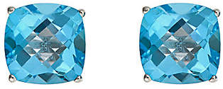 QVC Gemstone Check-Top Cushion Stud Earrings, Sterling Silver