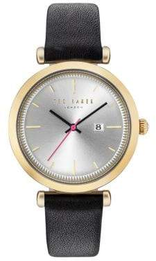 Ted Baker Ava Round Goldtone Stainless Steel Analog Leather Strap Watch