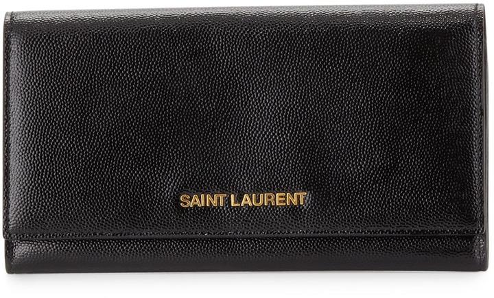 Saint Laurent Letters Continental Flap Wallet, Black