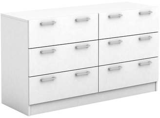 Tribeca White 6 Drawer Lowboy Dresser