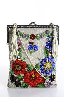 Designer Ivory Satin Bead Detail Floral Shoulder Handbag Size Small