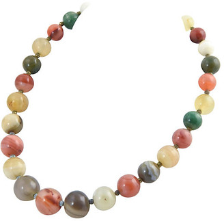One Kings Lane Vintage Multicolored Agate Bead Necklace - Owl's Roost Antiques