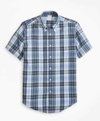 Brooks Brothers Regent Fit Blue Madras Short-Sleeve Sport Shirt