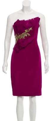 Marchesa Silk Strapless Embellished Mini Dress w/ Tags