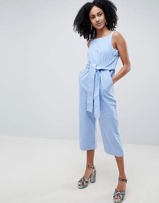 Lost Ink Sleeveless Jumpsuit With Tie Waist
