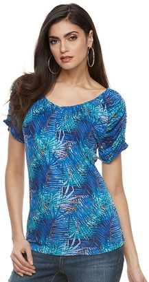 Women's Jennifer Lopez Ruched Print Tee $30 thestylecure.com