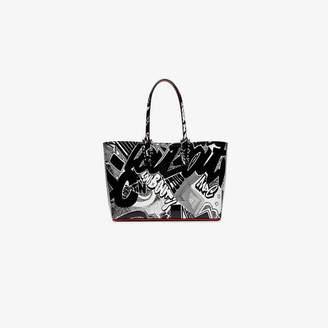 Christian Louboutin black and white cabata graffiti print leather tote