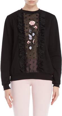 Giamba Black Floral Embroidered Point D'Esprit Sweatshirt