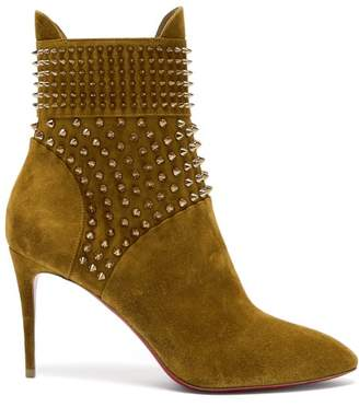 Christian Louboutin Hongroise 85 Studded Suede Boots - Womens - Khaki