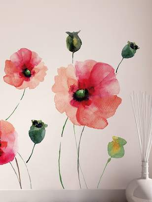 Brewster Watercolor Poppies Peel and Stick Wall Decal