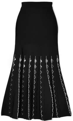 Alexander McQueen Cutout Stretch-knit Midi Skirt - Black