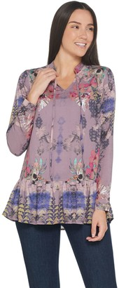 Tolani Collection Printed Woven Tunic with Ruffle Hemline