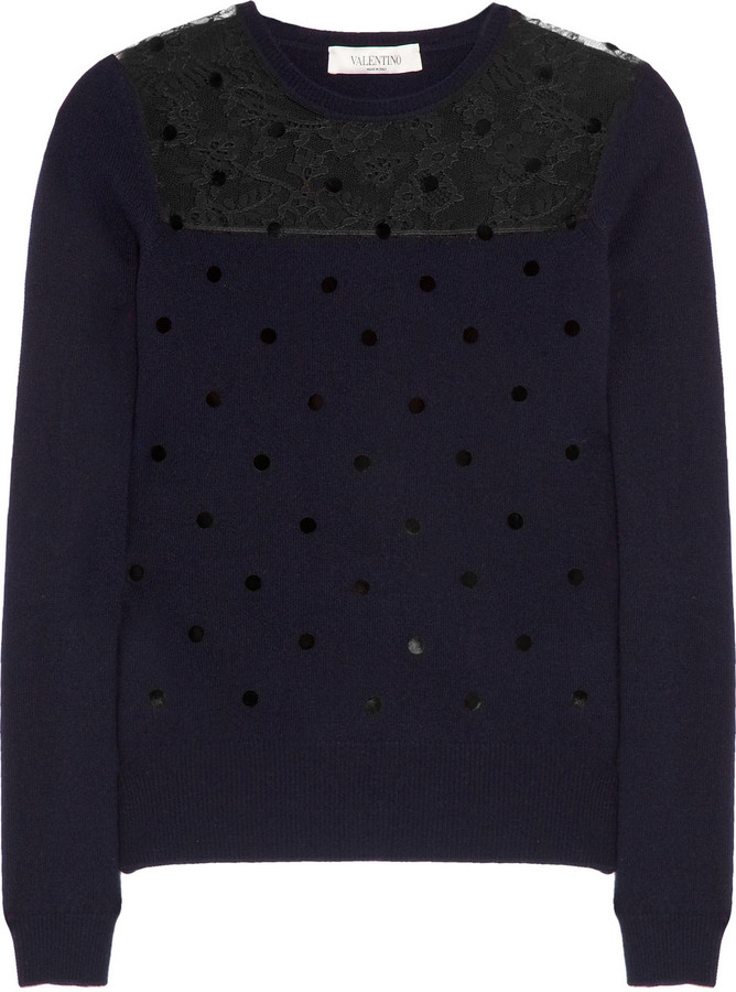 Valentino Polka-dot wool-blend and lace sweater