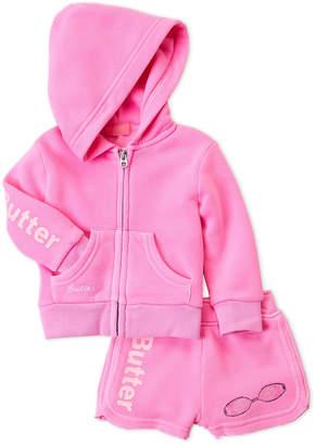 Butter Shoes Infant Girls) Two-Piece Zip-Up Fleece Hoodie & Sweat Shorts Set