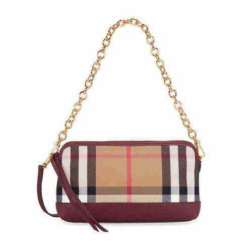 Burberry House Check and Leather Clutch Bag - Mahogany Red