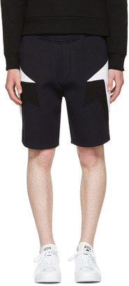 Neil Barrett Navy Tricolor Modernist Shorts $470 thestylecure.com