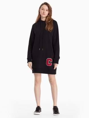 Calvin Klein cotton knit c-badge hoodie dress