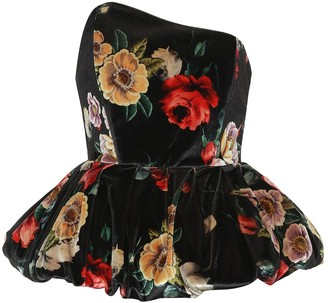 ATTICO The Floral-printed velvet bustier