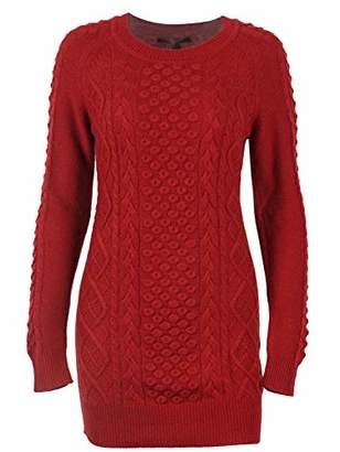 Peplum Pointe Women's Winter Cable Knit Casual Crew Neck Long Sweater Wool Blend Pullover (