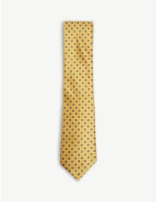 Canali Mini square and floral silk tie