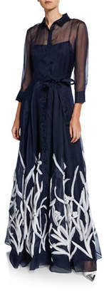 Carolina Herrera 3/4-Sleeve Floral Embroidered Shirt Gown
