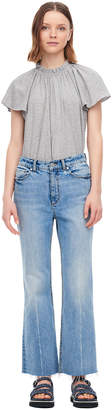 Rebecca Taylor La Vie Washed Textured Jersey Ruched Tee
