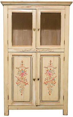 One Kings Lane Vintage French Painted Pine Cabinet - Chez Marie Antiques