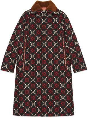 Gucci GG diamond wool cape coat
