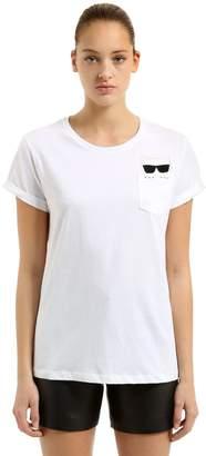 Karl Lagerfeld Choupette Pocket Cotton Jersey T-Shirt