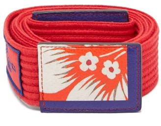 Etro Floral Printed Ribbed Cotton Tie Belt - Womens - Red