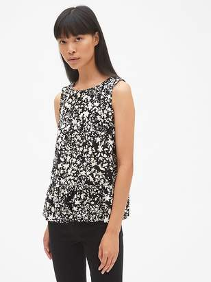 Gap Floral Print Sleeveless Shirred Ruffle-Hem Top