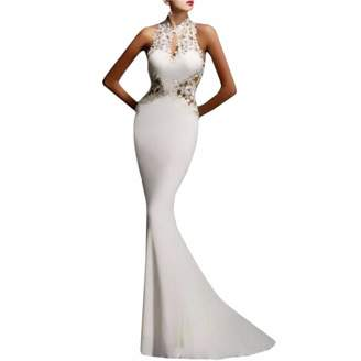 Qiyun Women Prom Evening Party Cocktail Backle Formal Long Fihtail Maxi Dre