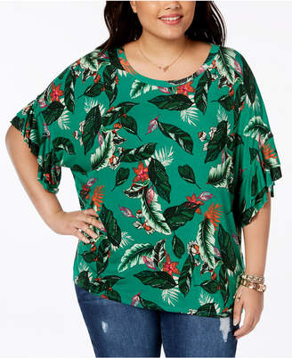 Eyeshadow Trendy Plus Size Flutter-Sleeve T-Shirt