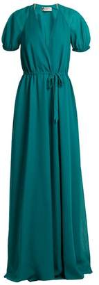 Lanvin V Neck Puff Sleeved Silk Crepe De Chine Gown - Womens - Green