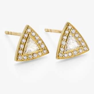 Kothari Triangle Halo Studs Diamond, Gold