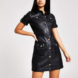 River Island Black faux leather shirt dress