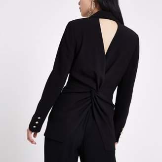 River Island Black fitted twist back blazer