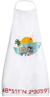 Kilometre Paris - Collins Avenue Embroidered Cotton Apron - Womens - White Multi
