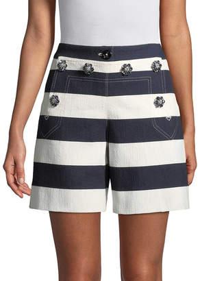 Dolce & Gabbana Flower Studded Striped Short