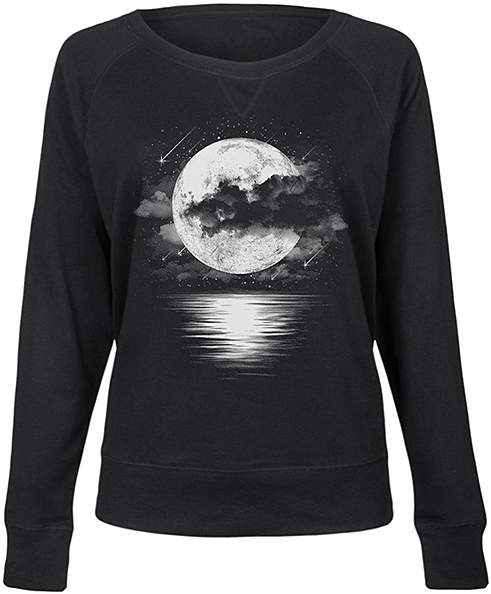 Black Cloudy Moon Shooting Stars Slouchy Pullover - Women